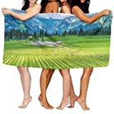 PengMin Animal Livestock On Green Field Gray Houses Premium 100% Polyester Large Bath Towel, Pool And Bath Towel (80'' X 130'') Natural, Soft, Quick Drying