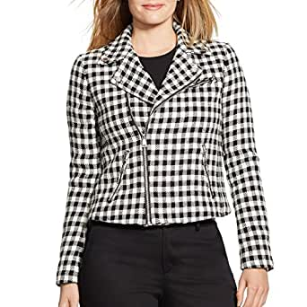 Lauren Ralph Lauren Women's Plus Size Plaid Moto Jacket