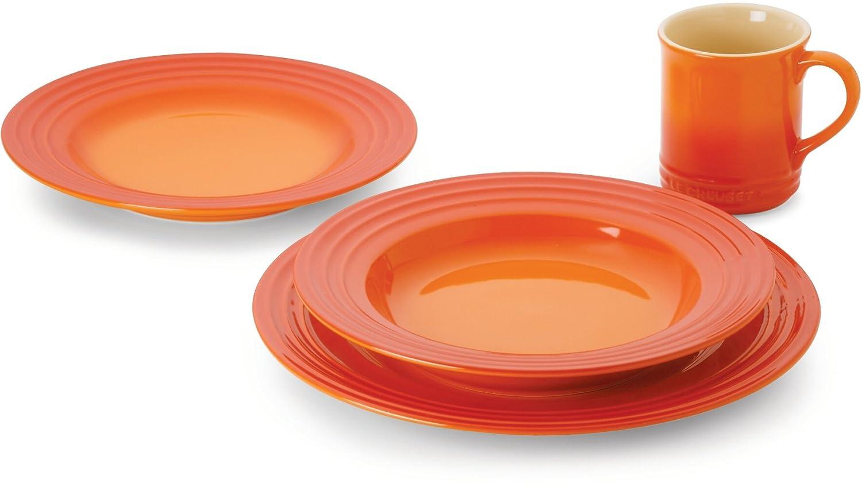 Amazon  Le Creuset Stoneware 16piece Dinnerware Set, Flame: Le  Creuset Plate: Dinnerware Sets