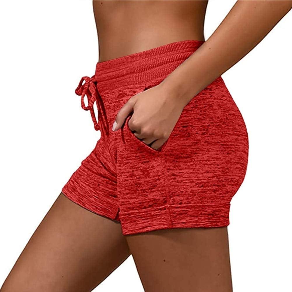 Eghunooye Sportshorts Damen Yoga Kurze Hosen Shorts Mode Einfarbig Fitnessshorts Trainingsshorts mit Taschen Baumwolle Schnelltrocknend Atmungsaktiv