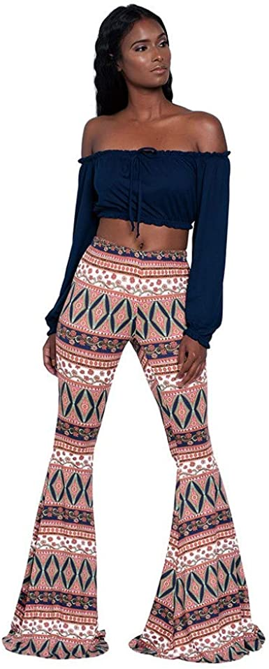 Pantalones De Playa Estampados Para Mujer Pantalones Acampanados Para Mujer Estilo Bohemio Pantalones Casual Para Mujer Ultra Moda Pantalones Anchos De Cintura Alta Amazon Es Ropa Y Accesorios