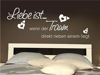 x-modeling® Wandtattoo Liebe ist wenn der Traum Schlafzimmer Sprüche Zittat  M2125 schwarz 150cm x 56cm