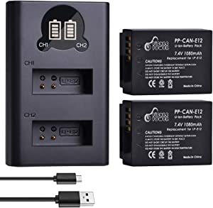 SX70 HS Battery Pickle Power LP-E12 (x2) 1080mAh 7.4V Battery Pack and Rapid Smart LED Dual USB Charger Compatible with Canon Rebel SL1 EOS-M EOS M2 EOS M10 EOS M50 EOS M100 Mirrorless Digital Camera.
