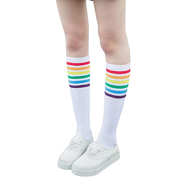 VJGOAL Mujeres de moda casual color sólido Muslo Calcetines altos Sobre la rodilla Rainbow Stripe Girls