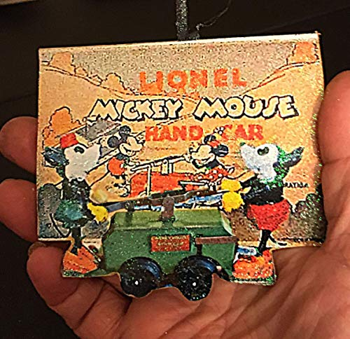 - Rare Green Disney Handcar Ornament, Handcrafted Wood Lionel Train Collector Set Husband Christmas Gift, Mickey Mouse, Minnie Mouse