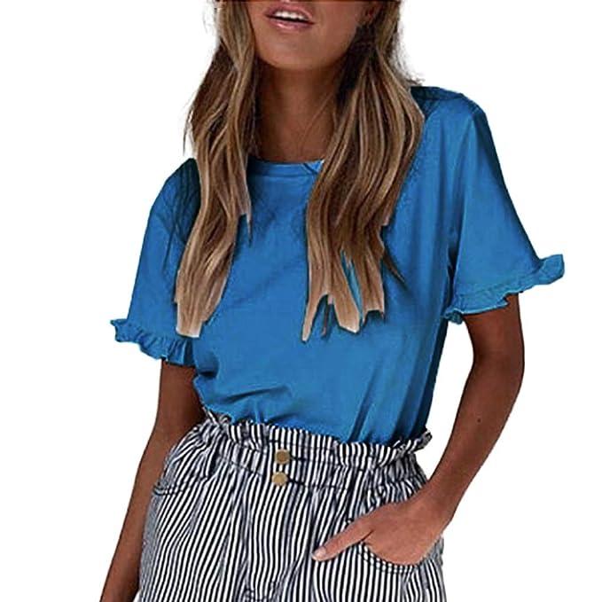Qingsiy Blusa Verano Camisetas Chaleco Mangas Cortas Color Sólido ...