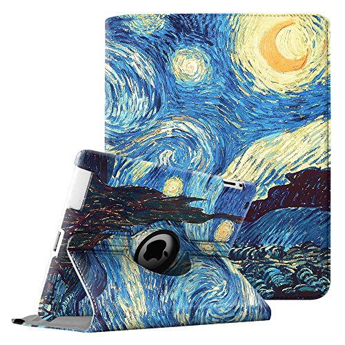 Fintie iPad 2/3/4 Case - 360 Degree Rotating Stand Smart Case Cover for Apple iPad with Retina Display (iPad 4th Generation), the new iPad 3 & iPad 2 (Automatic Wake/Sleep Feature) - Starry Night