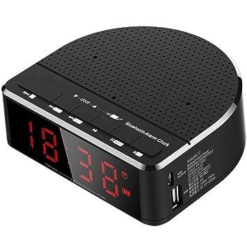 V.JUST Radio Reloj Despertador Digital con Altavoz Bluetooth, Pantalla De Dígitos Rojos con