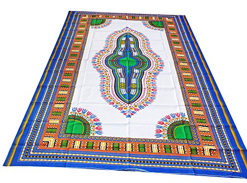 - RaanPahMuang African Dashiki White Cotton Fabric Suitable for 1 Shirt Design, Multicolour Blue