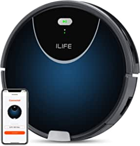 ILIFE V80Max Robot Vacuum,2000Pa Max Suction,Big 750ml Dustbin,Enhanced Suction Inlet,Zigzag Cleaning Path,Self-Charging, LCD Display,Schedule, Ideal for Hard Floor to Medium Pile Carpets.