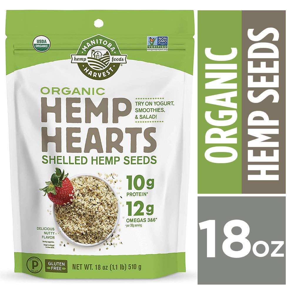 Manitoba Harvest Organic Hemp Hearts Raw Shelled Hemp Seeds, 18oz; with 10g Protein & 12g Omegas per Serving, Non-GMO, Gluten Free by Manitoba Harvest (Image #1)