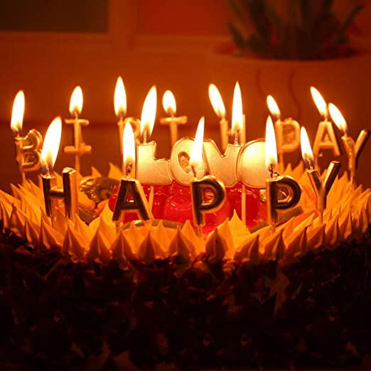 Excellent Amazon Com T Shin Happy Birthday Letter Candles Cake Candles Funny Birthday Cards Online Elaedamsfinfo