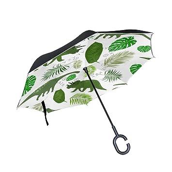 TIZORAX Dinosaurios Verde Hojas Invertido Doble Capa Recto Paraguas Inside-Out Reversible Paraguas con Mango