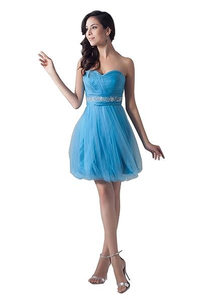 db69af347a00f  Wonderfulドレス ふわふわチュール 可愛いAライン ハイウェスト ミニドレス 青 ビーズ パーティー