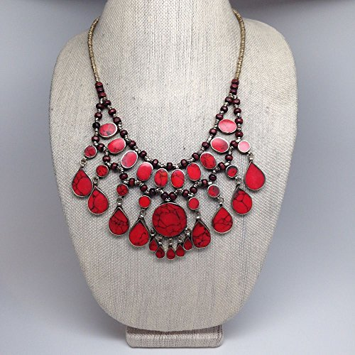 Circle Fashion 3 Layers Red Coral Inlay Afghan Turkmen Tribal Kuchi Necklace (Tribal Inlay)