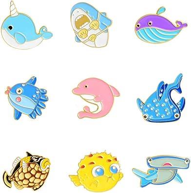 EXCEART 9Pcs Broche Animal Pin Delfín Ballena Pescado Esmalte Pin Camisa Cuello Pin Camisa Tachuelas Ropa Bolsas Chaquetas Mochilas Decoración: Amazon.es: Joyería