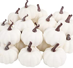 FUNARTY 24pcs White Mini Pumpkins Artificial Small Pumpkins for Halloween, Autumn Thanksgiving Indoor Outdoor Decorations