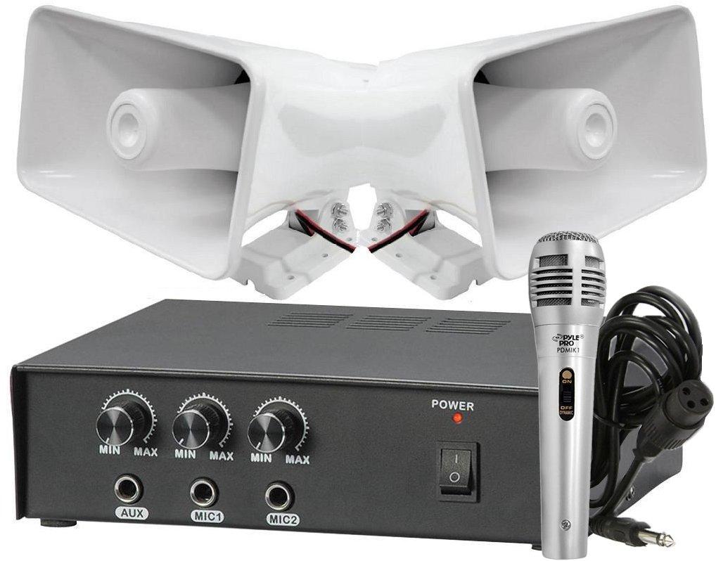 Pyle KTPMSA20HM Pair of 8'' Indoor / Outdoor 65 Watt PA Horn Speakers w/ 50 Watt Power Amplifier & Handheld Microphone