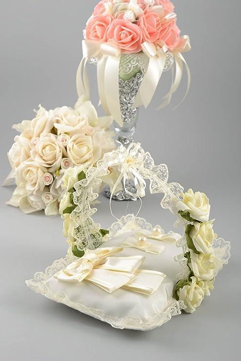 Madeheart Cojín para alianzas con asa y flores hecho a mano ...