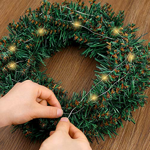 HAKACC 12 Inch Artifical Christmas Wreath with 20 Battery Lights for Front Door Decoration and Christmas Party