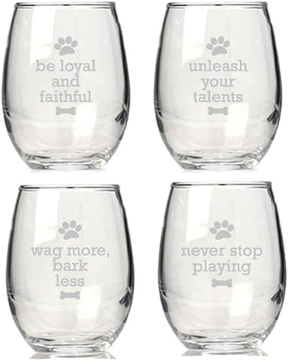 Dog Wisdon Stemless Wine Glasses Set Of 4 Wine Glasses