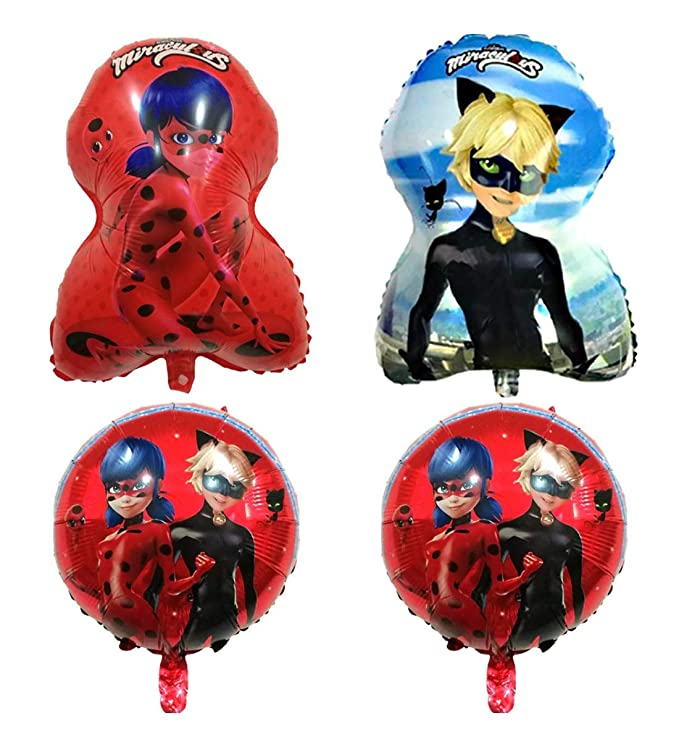 Pack 4 Globos Lady Bug / Cat Noir Medida 60cm / 45 cm ...