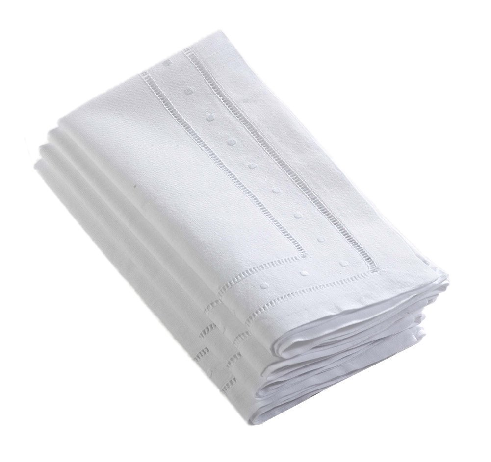 Hand Hemstitched and Embroidered Swiss Dot Napkins, White Color, 22'' Square, Set of 4
