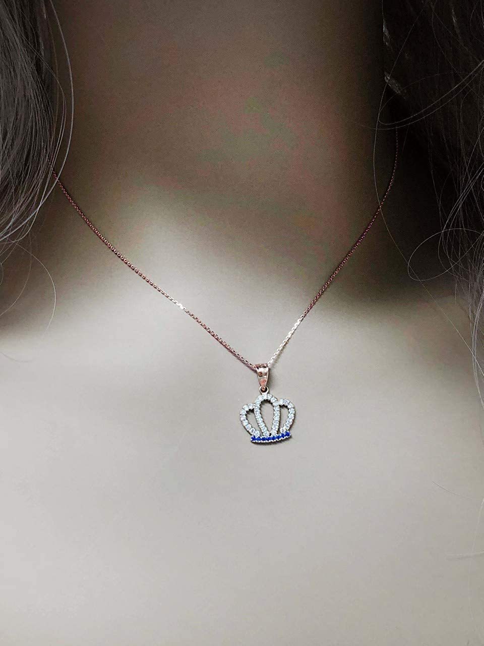 Exquisite 10k Rose Gold Radiant Blue and White CZ Royal Crown Pendant Necklace