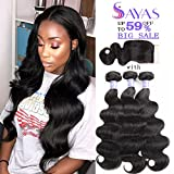 Sayas Hair 8A Grade Brazilian Body Wave Human Hair 3 Bundles With Closure 4x4 Inch Free Patr 100g(3.5oz)/bundle with 25g(0.9oz)Closure Total 325g(11.4oz) (10 12 14 with 10)inch