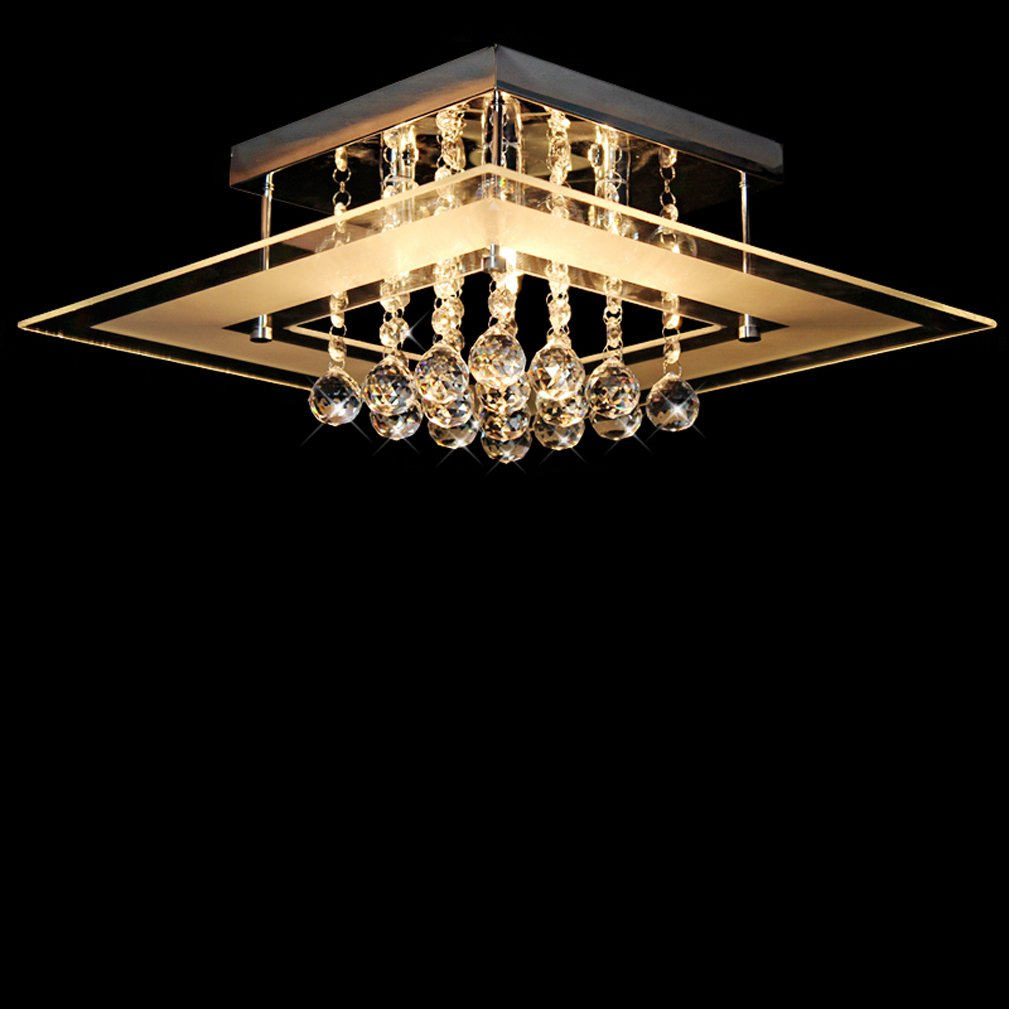 Dst Moderne Moderne Moderne Flushmount Deckenleuchte Klar Kristal & Glas Kronleuchter 5 Licht für Esszimmer Wohnzimmer Schlafzimmer Arbeitszimmer L40cm B40cm H17.5cm 41805f