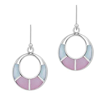 Tuscany Silver Sterling Silver Pink and Blue Mother of Pearl Cut Out Drop Earrings