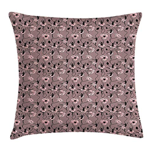 WEWELA Abstract Throw Pillow Cushion Cover, Blooming Flowers and Ballerina Silhouettes Dance Figures with Petals, Decorative Square Accent Pillow Case, 18 X 18 inches, Rose Black Dried Rose