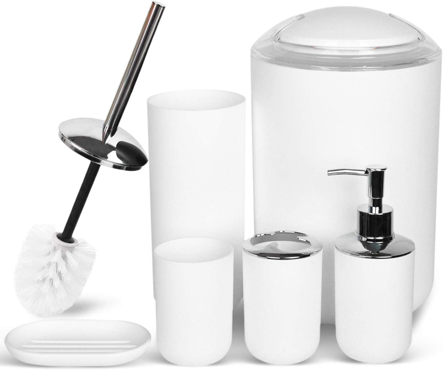 Soap Dish for Decorative Countertop and Housewarming Gift,New White Toothbrush Holder Toothbrush Cup CERBIOR Bathroom Accessories Set 6 Piece Bath Ensemble Includes Soap Dispenser
