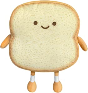 CALIDAKA Toast Sliced Bread Pillow,Bread Shape Plush Pillow,Facial Expression Soft Toast Bread Food Sofa Cushion Stuffed Doll Toy Food Plush Toy Pillows for Kids Adults Home Bed Room Decor