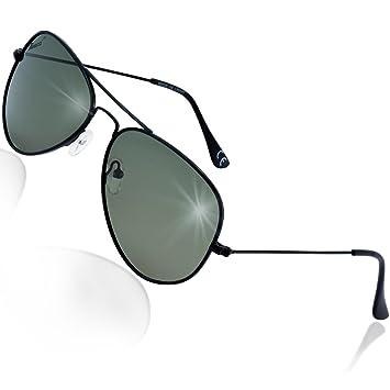 0496ab6023 Rivacci Gafas de Sol Aviador Hombre Mujer Polarizadas - Marca Retro/Vintage  - Lentes Piloto Deportivas - Negras / G15 (Verde/Gris) Polarizado:  Amazon.es: ...
