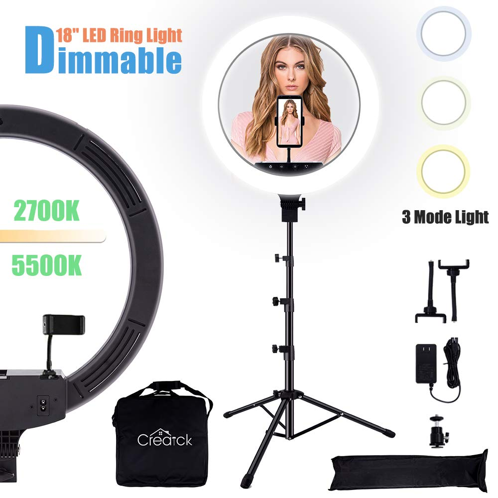 Creatck 18'' LED Ring Light with Tripod Stand, Dimmable 3 Light Modes 2700-5500K & Touch Button Design, Selfie Ring Light with 3 Holders/ 1 USB for Camera, Makeup, YouTube, Self-Portrait Shooting
