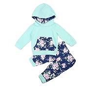 Baby Girl Floral Print 2pcs Set Pullover Hoodies Pocket Top+Flower Long Pants (3-6Months, Green)