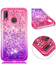 for Huawei P20 Lite Case Glitter Liquid and Screen Protector,QFFUN Bling Sparkle Quicksand Gradient Colors Design Shiny Diamond Frame Clear Slim Fit Protective Phone Case Bumper - Pink and Purple