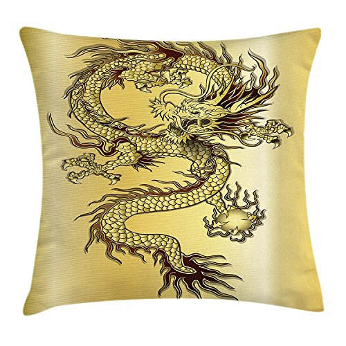 White Snake Chinese Gold (Dragon Throw Pillow Cushion Cover, Chinese Snake Dragon Theme Print Golden Background Eastern Mythology Oriental Abstract Art, Decorative Square Accent Pillow Case, 18 X 18 Inches, Gold)
