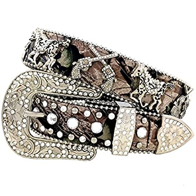 Western Peak Women's Camouflaged Leather Gun and Horse Concho Belt