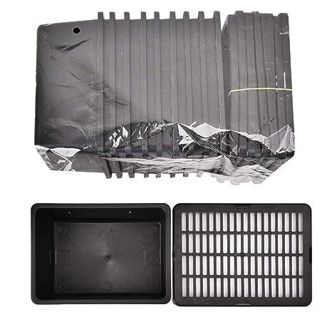 Hffheer 10Pcs Cuadrícula Alimentador Caja Plástico Negro Caja de ...