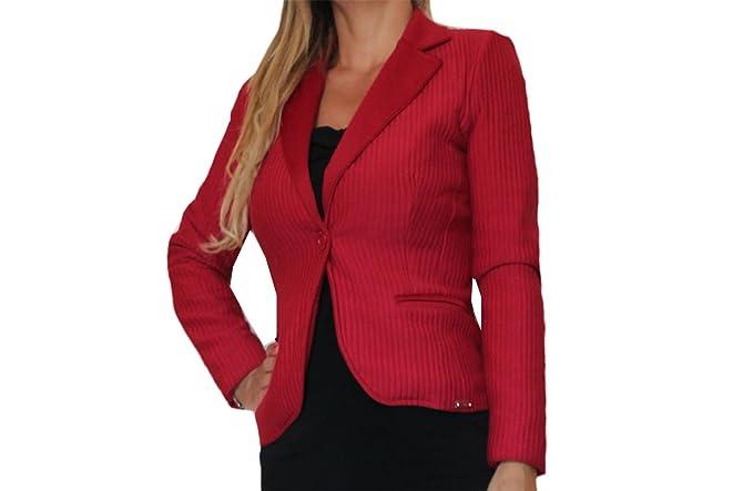 online store 8f7ab 34cab les filles Giacca donna blazer elegante rosso 44, Rosso, 44 ...