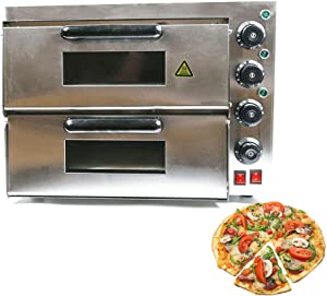Electric Pizza Oven, 3Kw Countertop Stainless Steel Deluxe Pizza and Snack Oven Double Deck Baking Equipment for Commercial & Kitchen Use