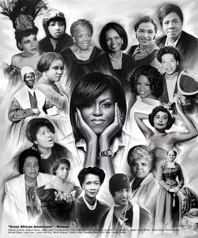 Great African American Women by Wishum Gregory, Obama  Rice  Parks  Winfrey (20x24)