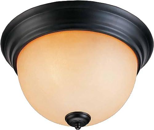 Volume Lighting V4132-65 Rainier 2 Light Foundry Bronze Flush Mount Ceiling Fixture