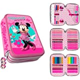 Astuccio Minnie Mouse Di Disney Astuccio Portapenne 3 Scomparti - 44 Pezzi