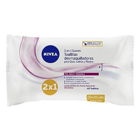 Nivea - Toallitas desmaquilladoras suaves, piel seca y sensible, 40 unidades