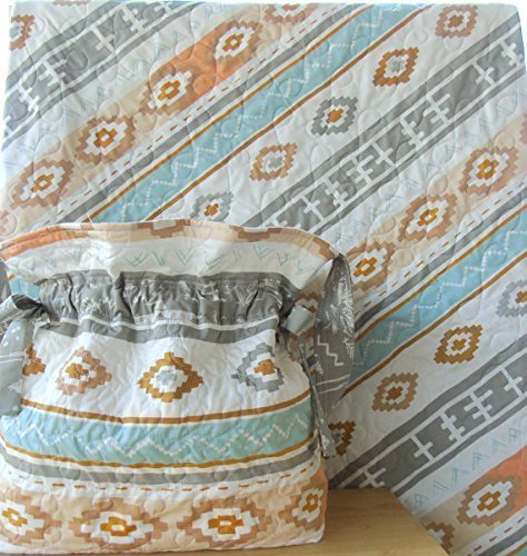 Baby Quilt and Diaper Bag Set Southwestern Nomad Aztec Gender Neutral by Carlene Westberg Designs
