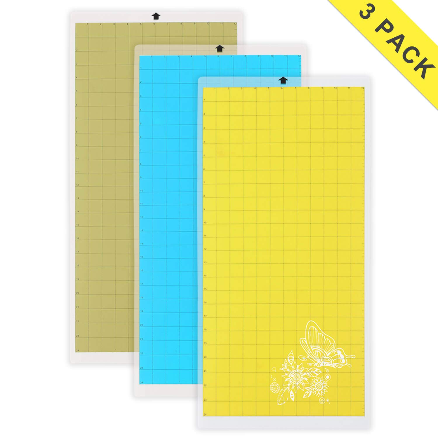 Cutting Mat Variety 3 Packs 12'' x 24'' - Strong, Standard, Light Grip Adhesive Cutting Mat Suit for Cricut, for Silhouette Cameo by Tsuning
