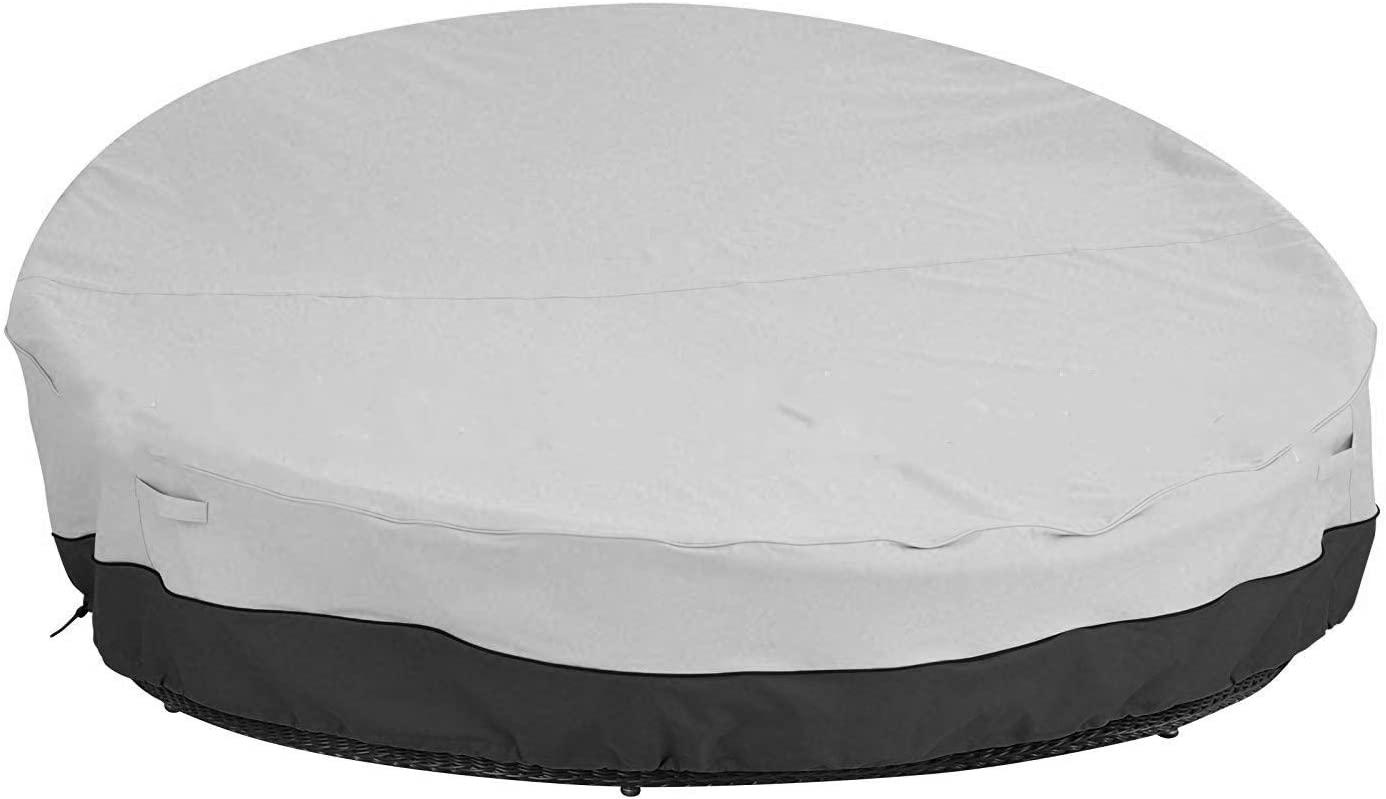 "Outdoor Daybed Cover Round Patio Daybed Cover All Weather Resistant Fabric Silver Coated Oxford Outdoor Round Daybed Sofa Cover, Helpful Air Vent, 90"" L x 85"" W x16/ 33"" H,Grey"